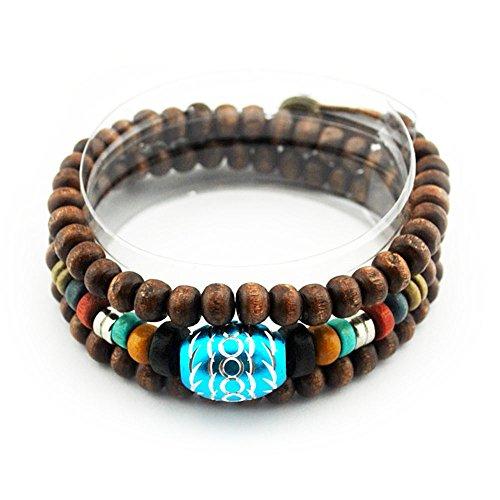 Winter's Secret Handmade Carve Blue Oval Bead Button Adjustable Ancient Lover Wood Beaded Bracelet