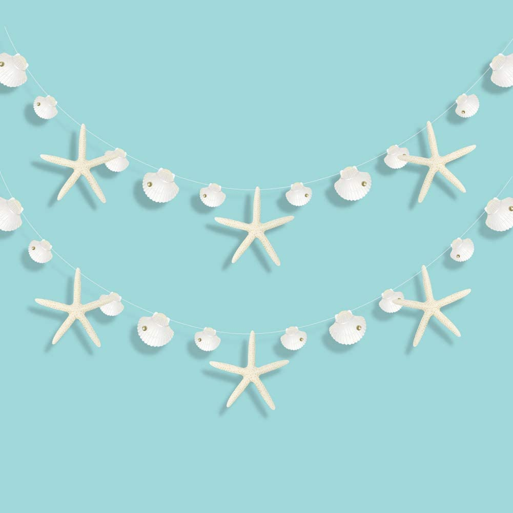 Decor365 Paper White Finger Starfish Sea Shell Garland Kit Ocean Coastal Nautical Party Decoration Starfish Cutouts Hanging Bunting Banner for Under The Sea Mermaid Birthday Beach Wedding/Baby Shower