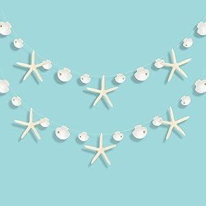 Decor365 Paper White Finger Starfish Sea Shell Garland Kit Ocean Coastal Nautical Party Decoration Starfish Cutouts Hanging Bunting Banner for Under The Sea Mermaid Birthday Beach Wedding/Baby Shower