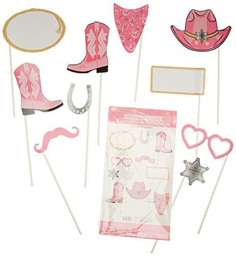 10-Piece Photo Booth Prop Kit, Pink Bandana Cowgirl