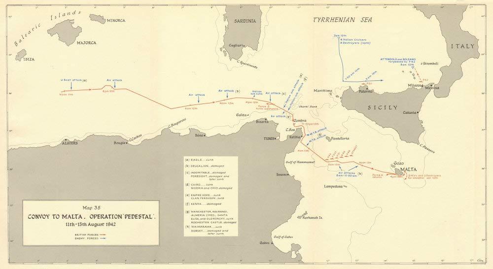 World Map Malta.Malta Convoy Operation Pedestal 11 13th August 1942 World War 2