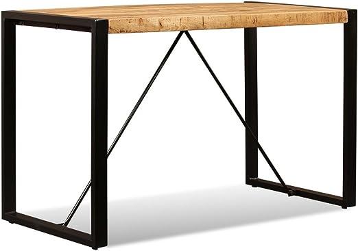 Vidaxl Tavolo Da Pranzo Legno Massello Di Mango Grezzo 120 Cm Tavolino Tavola Amazon It Casa E Cucina