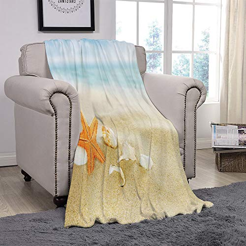 SCOCICI Super Soft Throw Blanket/Starfish Decor,Tropical Caribbean Seacoast
