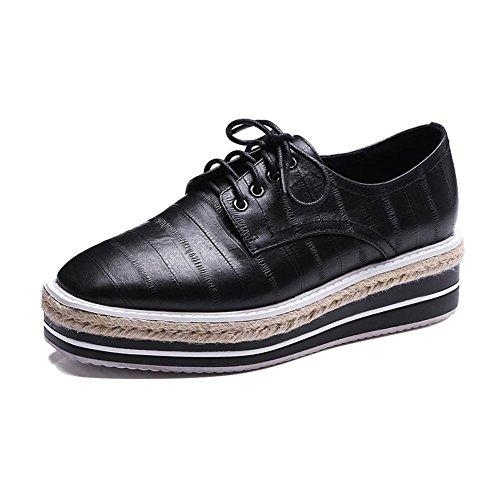 KJJDE Zapatos con Plataforma Mujeres WSXY-A2822 Zapatos Clásicos de Bullock Correa de Sujeción negro