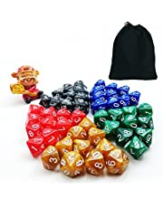 50 stks Verschillende kleuren D10 Pack, 5X10 stks 10 zijdes Dice Marble Polyhedral Dice D10 Set