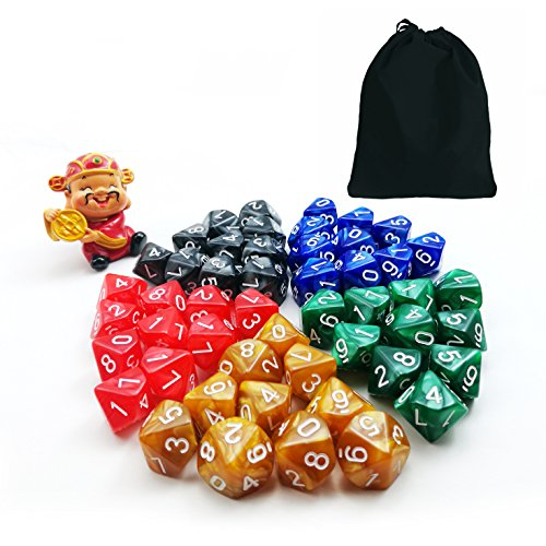 50pcs Assorted Different Colors D10 Pack, 5X10pcs 10 Sides Dice Marble Polyhedral Dice D10 Set (D10 Set)