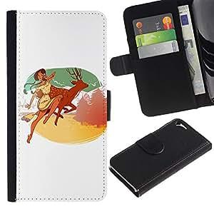 KingStore / Leather Etui en cuir / Apple Iphone 5 / 5S / Muchacha india Deer Monta?as Felicidad