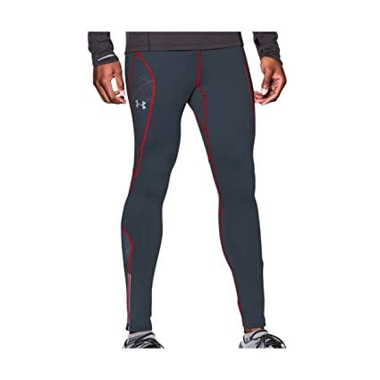 e13452ac36 Mens Under Armour Chrome Compression Thermal Leggings Pants Wire/Red (Small)