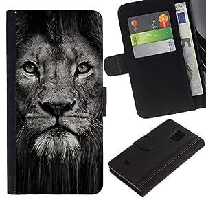 LASTONE PHONE CASE / Lujo Billetera de Cuero Caso del tirón Titular de la tarjeta Flip Carcasa Funda para Samsung Galaxy S5 Mini, SM-G800, NOT S5 REGULAR! / lion powerful nature animal big cat