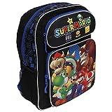 """Super Mario Medium 14"""" Black Backpack- Mario & Luigi"""
