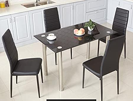 FurnitureR Dining Chair Set Of 4 Elegant Design PU High Back Leather Side Chairs Seats
