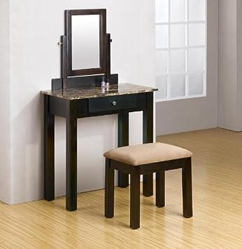 Amazoncom 2 Pc Espresso Wood Make Up Marble Table Dresser Vanity