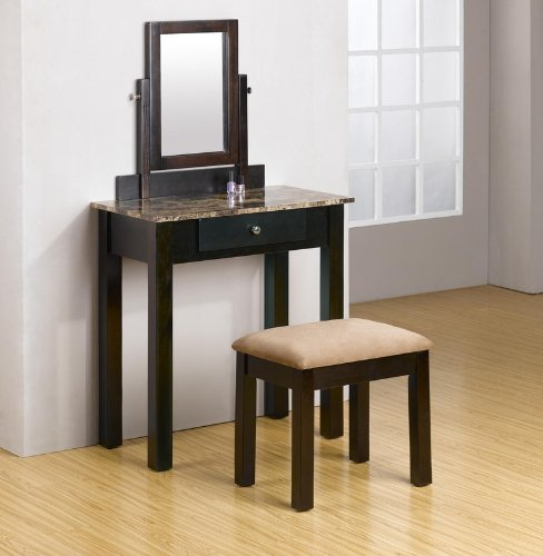 2 PC Espresso Wood Make Up Marble Table Dresser Vanity Set w/ Bench