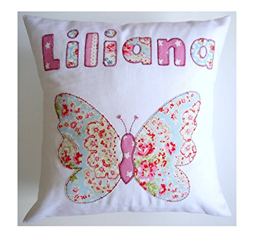 Personalized girls pillow Butterfly embroidered applique design named pillow baby girl's gift birthday new baby (Embroidered Baby Personalized Pillow)
