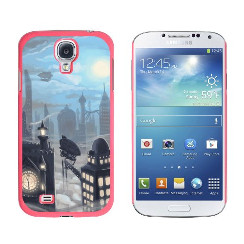 Graphics and More Snap-On Hard Protective Case for Samsung Galaxy S4 - Steampunk City - Steam Airship Dirigible Zeppelin - Non-Retail Packaging - Pink