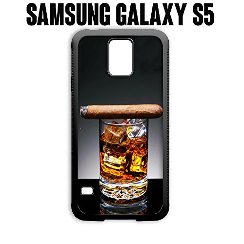Phone Case Cuban Cigar and Whiskey for Samsung Galaxy S5 Plastic Black (Ships from CA) (Galaxy S5 Case Samsung Whiskey)