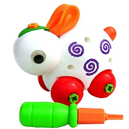 Eonkoo 4 PCS Plastic Animal Disassembly Puzzle Toy Set Giraffe Bunny Turtle Snail for Baby Children Best Xmas Gifts