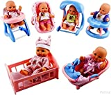 WolVol Set of 6 Mini Dolls for Girls with Cradle, High Chair, Walker, Swing, Bathtub, Infant seat