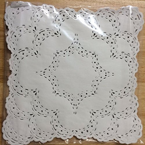 12x12 Inch White Square Lancaster Paper Doilies 50 Count by PEPPERLONELY