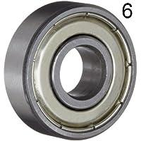 Seis (6) 608ZZ rodamientos de bolas en miniatura engrasados blindados 8 x 22 x 7