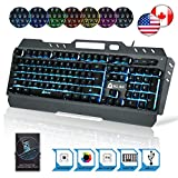 ⭐️ KLIM Lightning Semi Mechanical Gaming Keyboard - Wired USB - Led 7 Colors Light - Metal Frame - Ergonomic, Quiet - Black RGB PC PS4 Windows Mac Keyboards - Office Semi Mecanical Gamer Teclado Keys