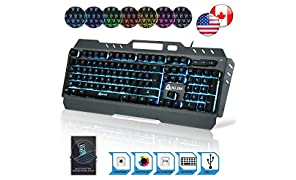 KLIM Lightning Gaming Keyboard - Semi Mechanical - Led 7 Colors Light Up, Metal Frame, Ergonomic - Compatible PC PS4 Mac Keyboards - Office Computer Membrane Gamer Wired USB Teclado - RGB Rainbow Keys