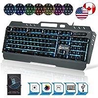 ⭐️Klim Lightning Semi Mechanical Gaming Keyboard - Wired USB - Led 7 Colors Light - Metal Frame - Ergonomic, Quiet - Black RGB PC PS4 Windows Mac Keyboards - Office Semi Mecanical Gamer Teclado Keys