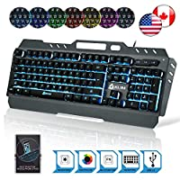 ⭐️ KLIM Lightning Semi Mechanical Gaming Keyboard - Wired USB - Led 7 Colors Light - Metal Frame - Ergonomic, Quiet - Black RGB PC PS4 Windows Mac Keyboards - Office Semi Mecanical Gamer Teclado Keys
