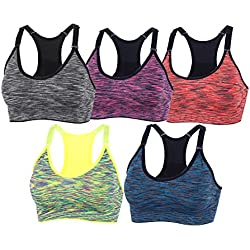 YEYELE Women 5 Pack Adjustable Straps and Removable Pads Tank Top Seamless Racerback Sports Bra, 5 Pack(blue+red+green+purple+gray), M(34D 36A 36B 36C 36D 38A 38B)