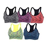 YEYELE Women 5 Pack Adjustable Straps and Removable Pads Tank Top Seamless Racerback Sports Bra, 5 Pack(blue+red+green+purple+gray), S(32A 32B 32C 32D 34A 34B 34C)