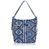 ZYSUN Womens Canvas Travel Backpack Convertible Shoulder Bags(Rhombus,Blue/603)