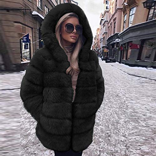 Faux Fur Coat Hooded Autumn Winter Warm Overcoat ()