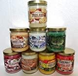 Smoke Odor Exterminator 13 oz Jar Candles Creamy Vanilla Assortment, (8) Creamy Vanilla, Sapphire, Rasta Love, Forest Walk, Flower Power, Glazed, Caramel Vanilla Latte & Sugared Cranberry.