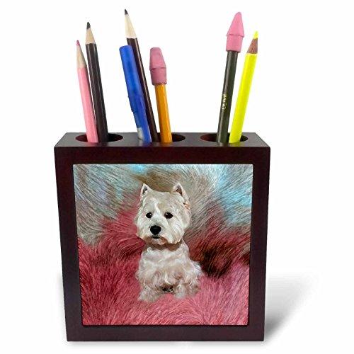 (3dRose LLC Westie 5-Inch Tile Pen Holder)
