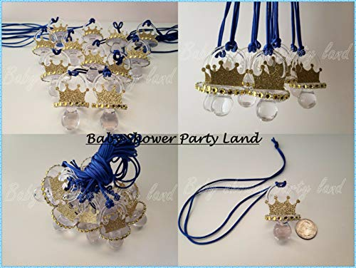 12 Prince Pacifier Gold Crown Necklace Baby Shower Favor Prize Game Boy Decoration Recuerdos de Baby Shower