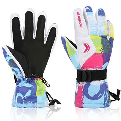 Ski Gloves,RunRRIn Winter Warmest Waterproof and Breathable Snow Gloves for Mens,Womens,ladies and Kids Skiing,Snowboarding(White-L)