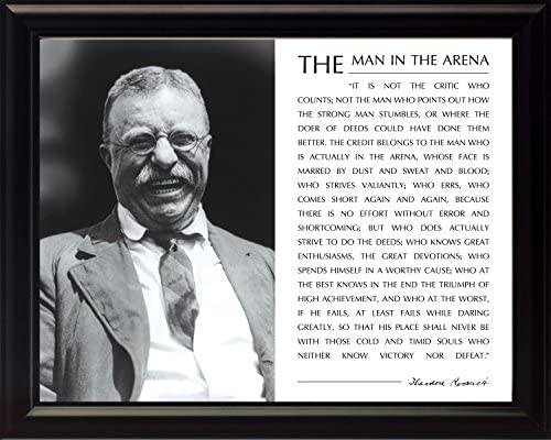 WeSellPhotos Theodore Teddy Roosevelt The Man in The Arena Quote 8x10 Framed Picture Holding Hat