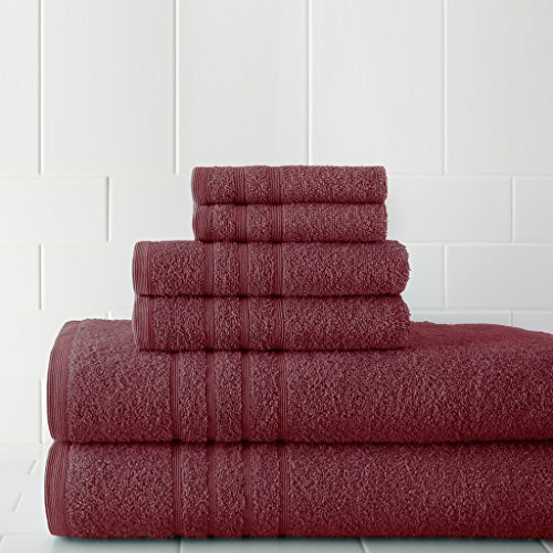 600 Gsm Spa Collection 100  Cotton 6 Piece Solid Towel Set Rose
