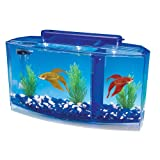 Penn Plax Deluxe Triple Betta Bow Aquarium Tank, 0.7-Gallon