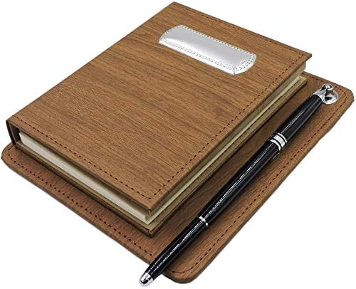 Argenteria MB Schreibtisch mit Tagesordnung, Adressbuch und Stift, Bezug aus Braunem Kunstleder mit silberner Laminatplatte