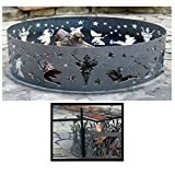 PD Metals Steel Campfire Fire Ring Fairy Design - Unpainted - with Cooking Grill - Medium 38 d x 12 h Plus Free eGuide