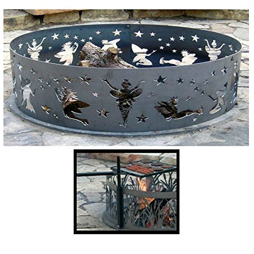 PD Metals Steel Campfire Fire Ring Fairy Design - Unpainted - with Cooking Grill - Medium 38 d x 12 h Plus Free eGuide by PD Metals