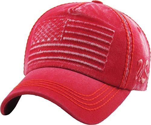 (KBVT-747 RED Flag USA America Vintage Distressed Dad Hat Baseball Cap Adjustable)