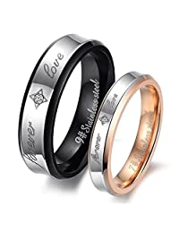 """CLJSTORE Jewelry Fashion Stainless Steel """"Forever Love"""" Couples Promise Ring Mens Womens Wedding Bands"""