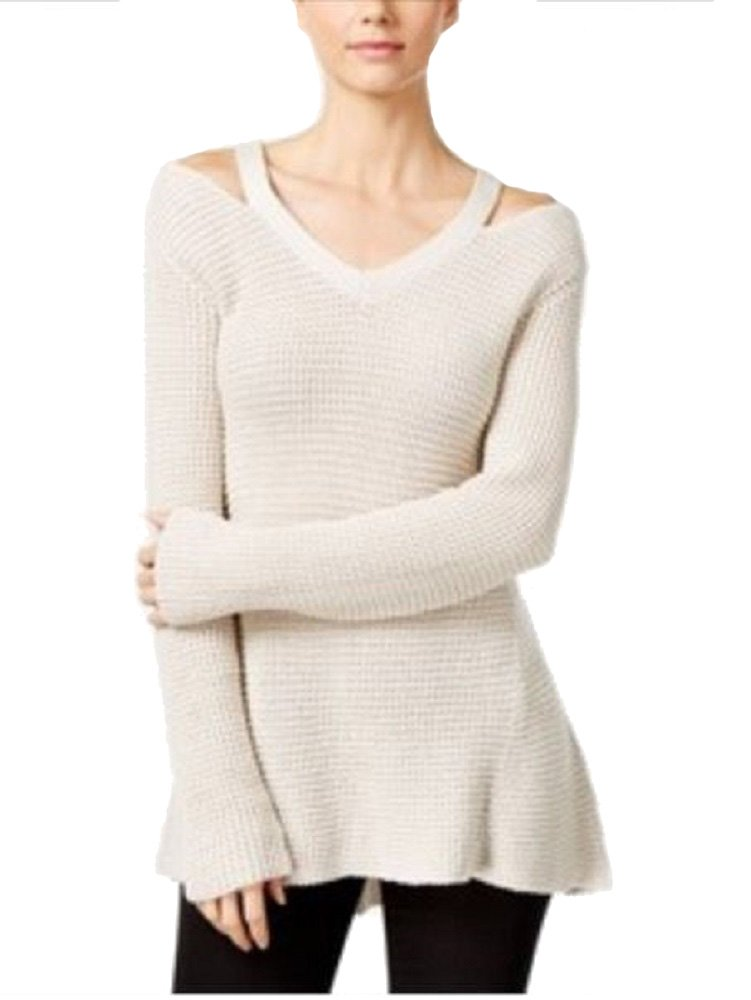 Style & Co. Womens Knit Cut-Out V-Neck Sweater Ivory PXL by Style & Co.