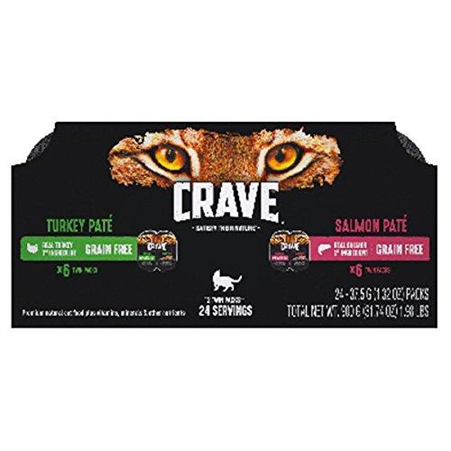 Crave Turkey Pate` Grain Free, Salmon Pate` Grain Free (Total of 12-Twin Packs=24 Servings)