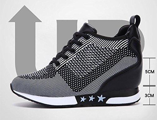Tqgold Gym Noir 8 Sneakers Cm Basses Compensées De Gris Fitness Sport Baskets Chaussure Femme BUXrBa