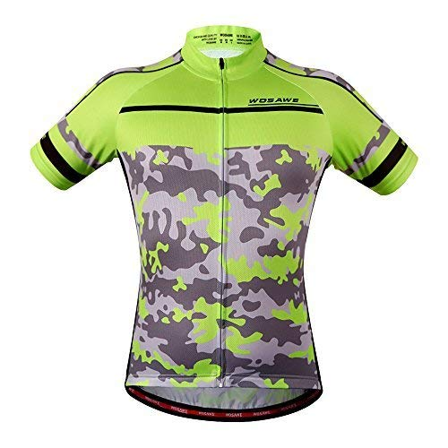 - WOSAWE Mens Breathable Cycling Jersey Short Sleeves (Camouflage Jersey, XL)
