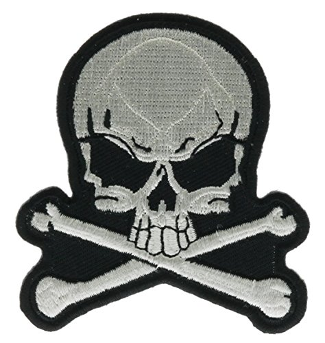 Embroidered Pirate - Crossbones & White Skull Pirate Iron on Embroidered Patch IVAN1390