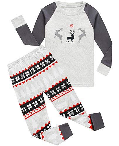 (Boys and Girls Christmas Pajamas Cotton Reindeer Toddler Clothes Kids Pjs Sleepwear Size 5T)